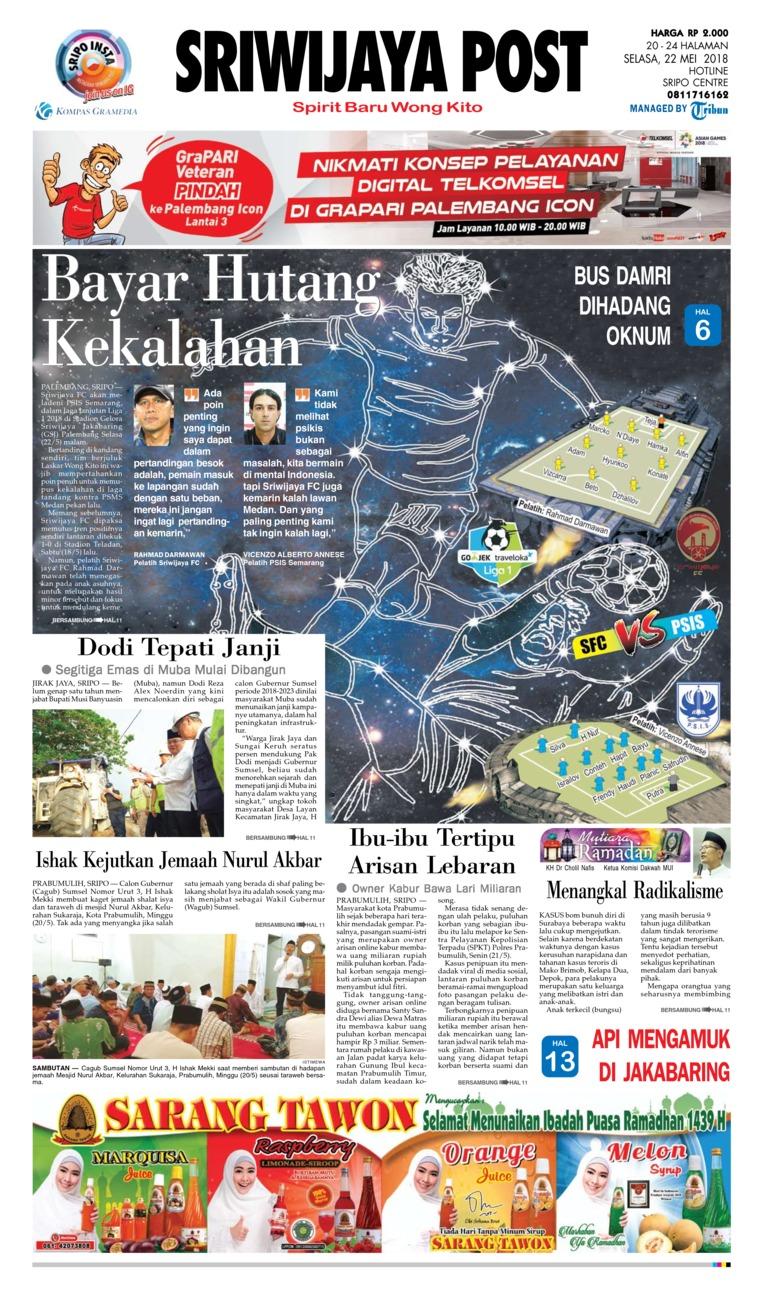 Koran Digital Sriwijaya Post 22 Mei 2018