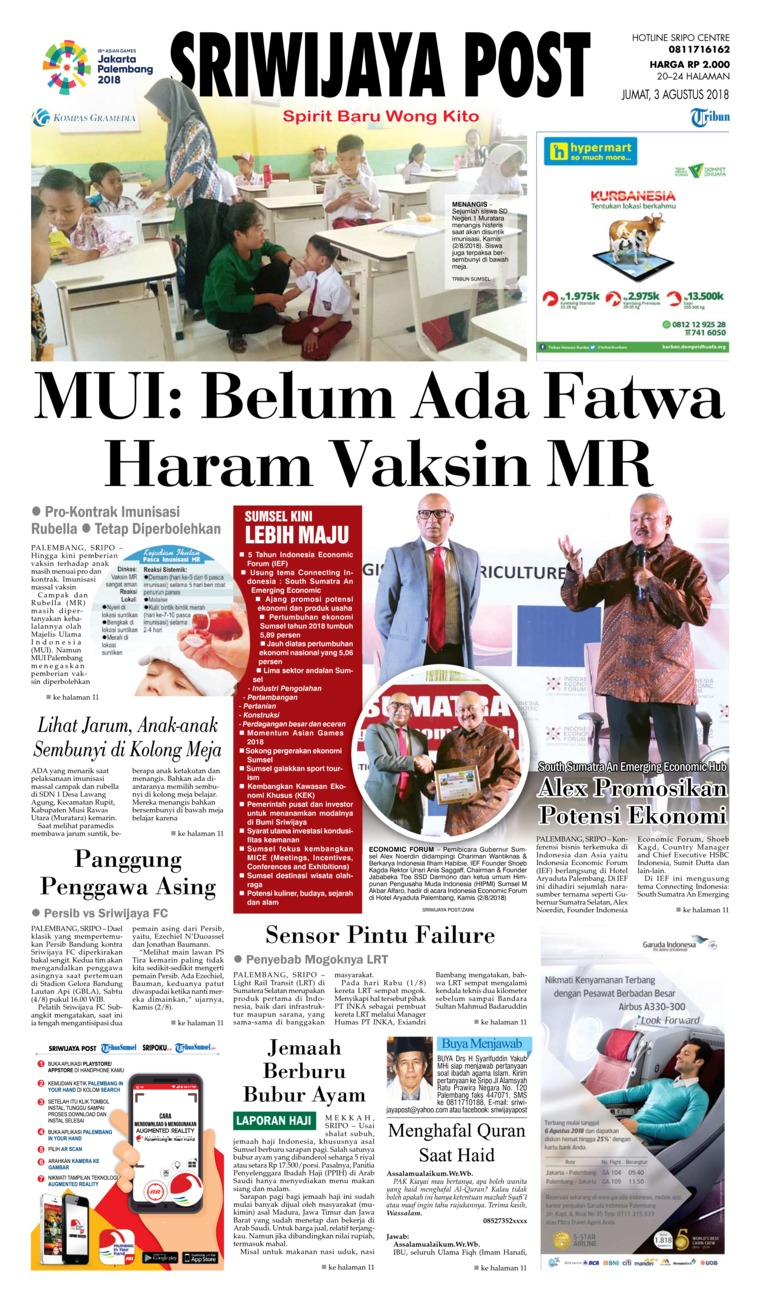 Sriwijaya Post Newspaper 03 August 2018 - Gramedia Digital