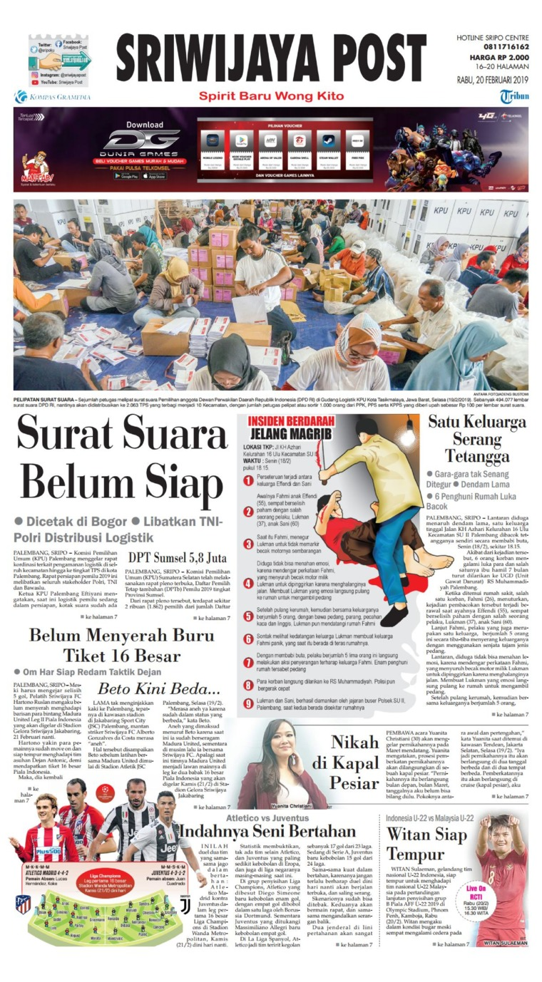 Sriwijaya Post Digital Newspaper 20 February 2019