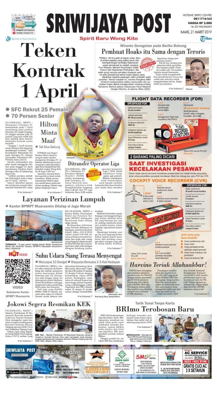 Koran Digital Sriwijaya Post 21 Maret 2019