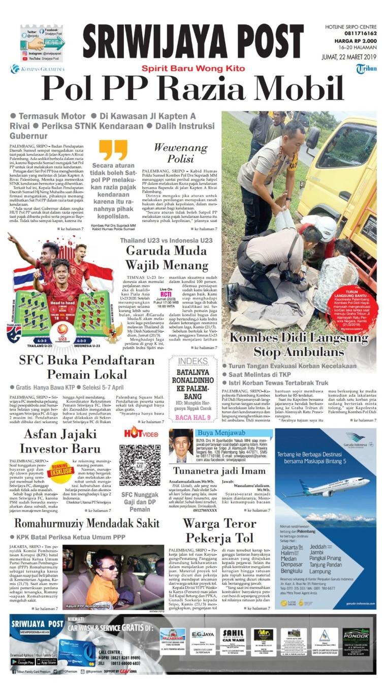 Koran Digital Sriwijaya Post 22 Maret 2019