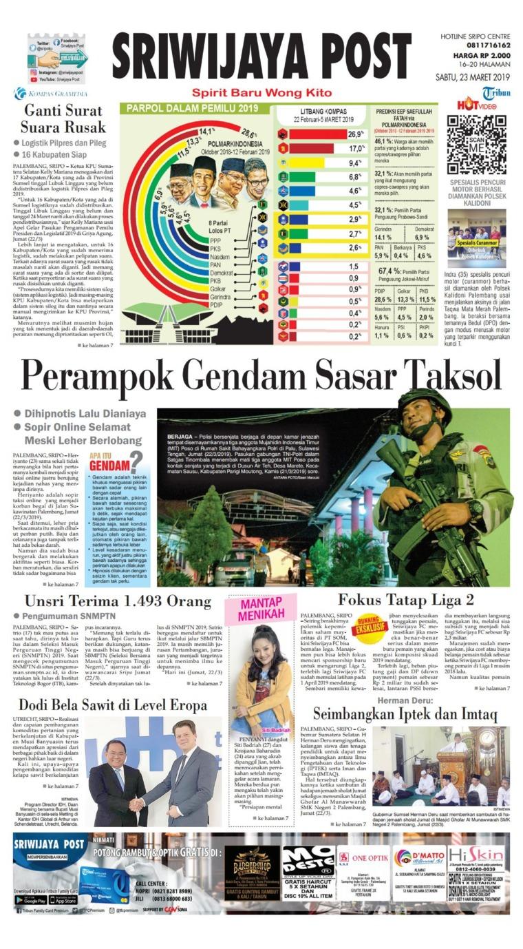 Koran Digital Sriwijaya Post 23 Maret 2019