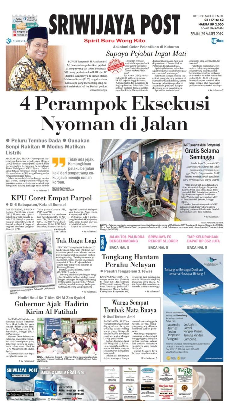 Koran Digital Sriwijaya Post 25 Maret 2019