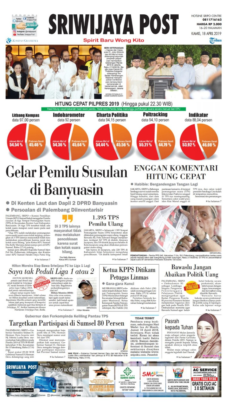 Koran Digital Sriwijaya Post 18 April 2019