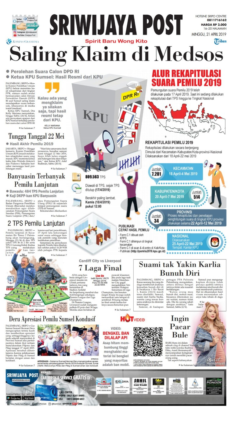 Koran Digital Sriwijaya Post 21 April 2019