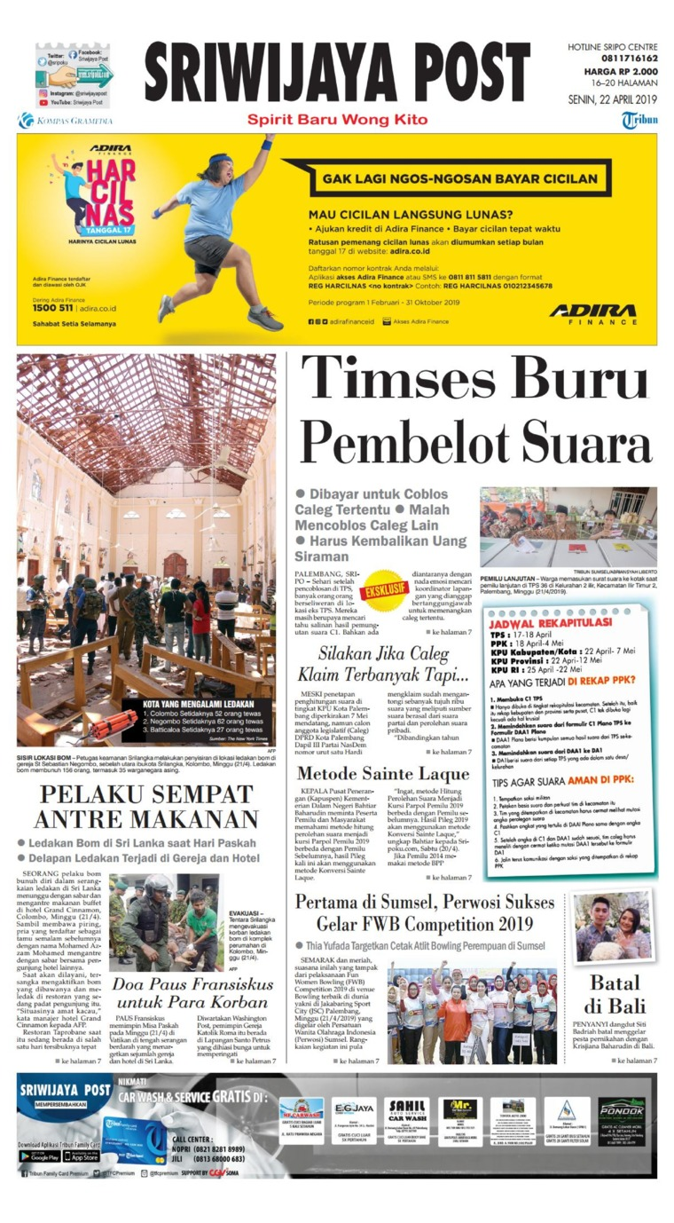 Sriwijaya Post Digital Newspaper 22 April 2019