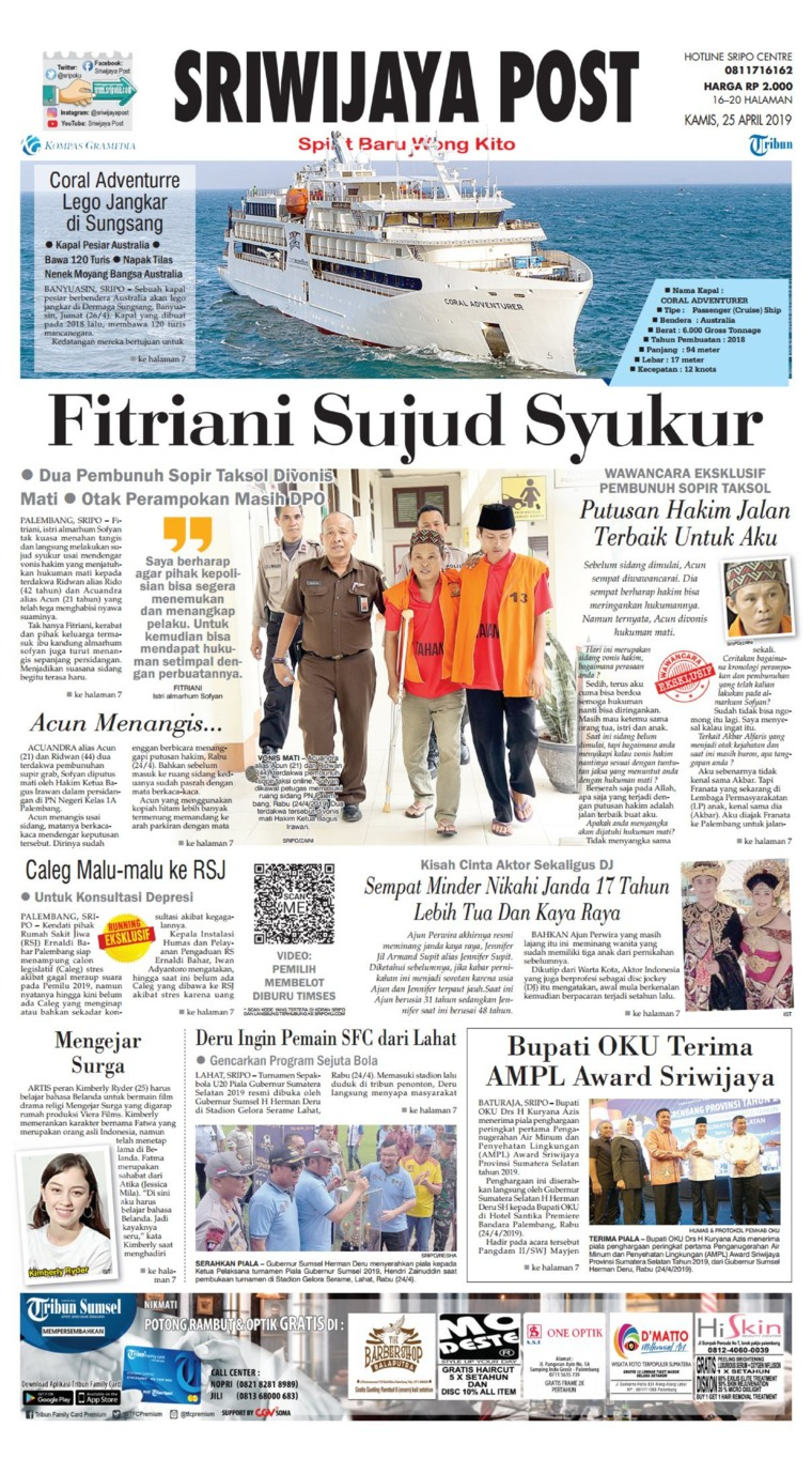 Sriwijaya Post Digital Newspaper 25 April 2019