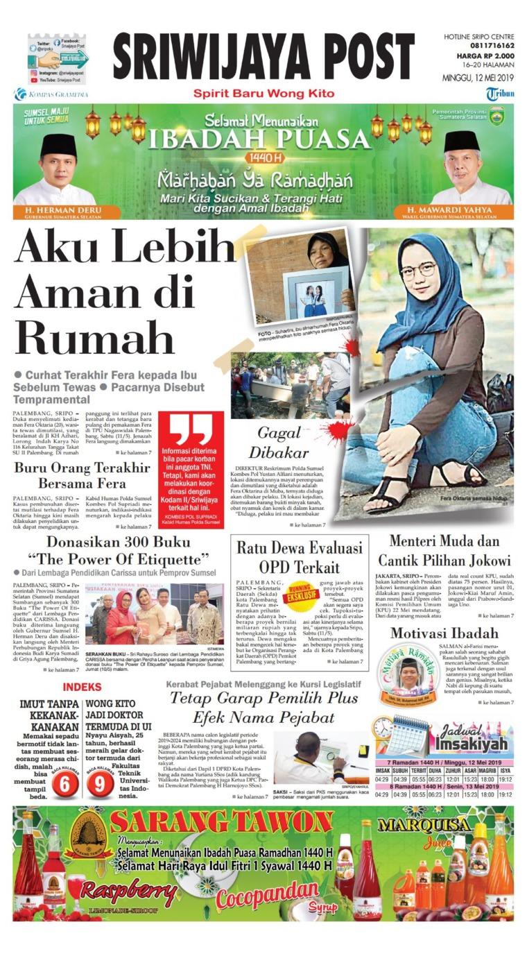 Sriwijaya Post Digital Newspaper 12 May 2019