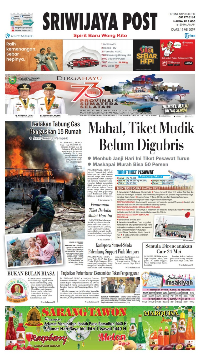 Sriwijaya Post Digital Newspaper 16 May 2019