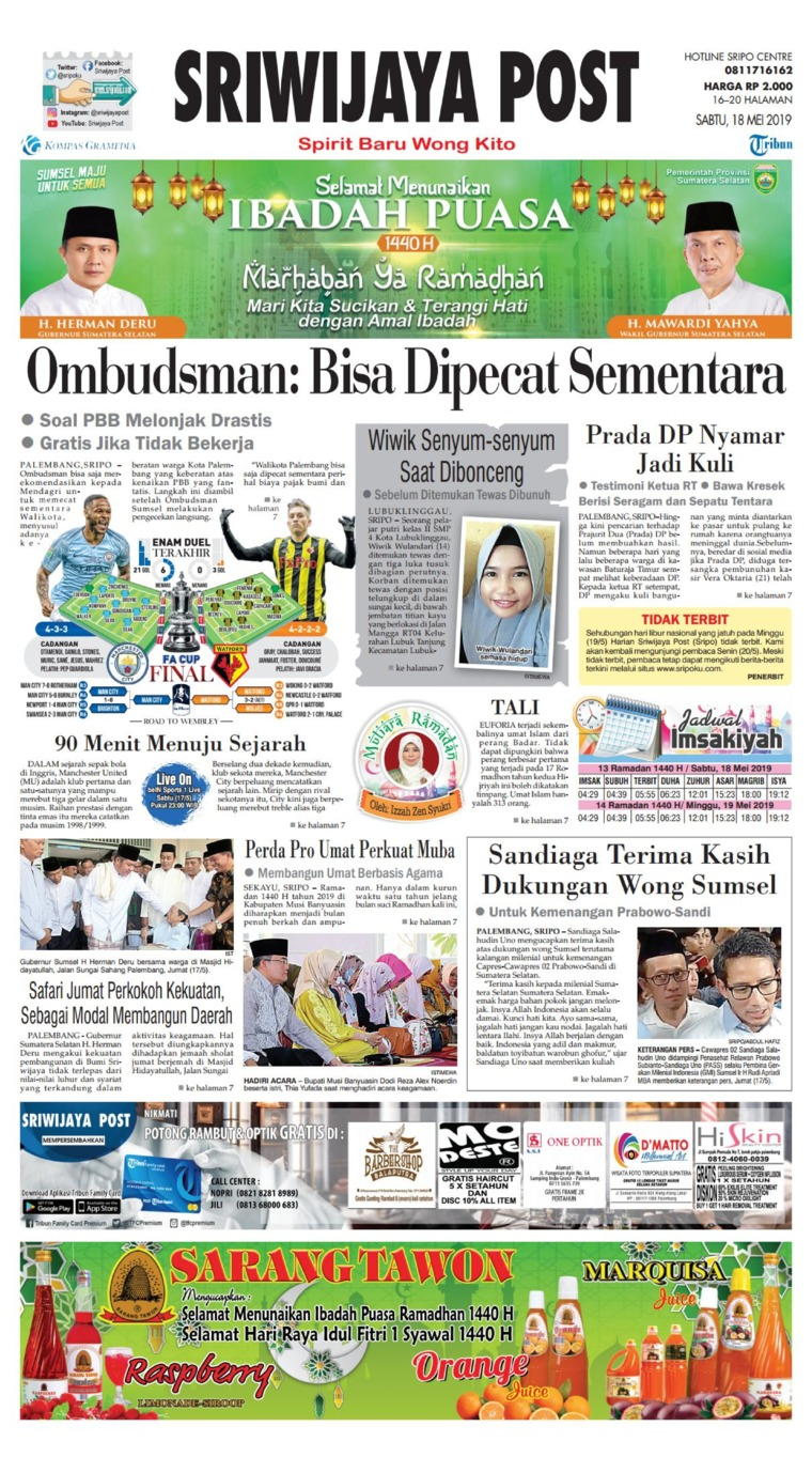 Sriwijaya Post Digital Newspaper 18 May 2019
