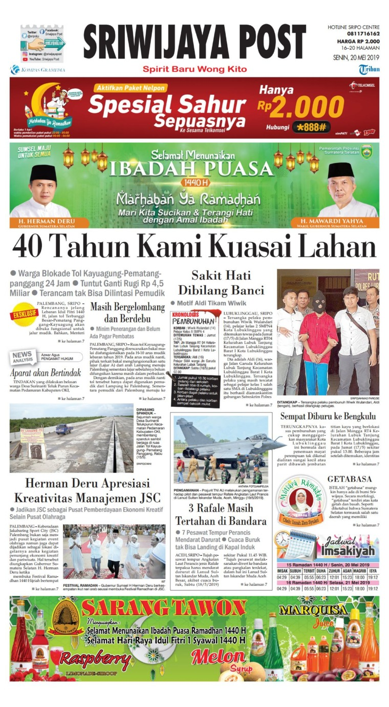 Sriwijaya Post Digital Newspaper 20 May 2019