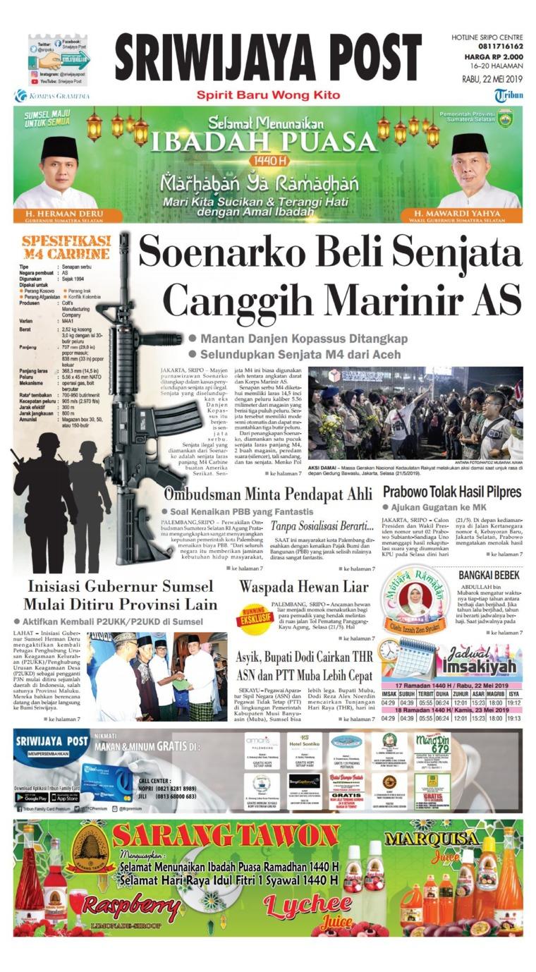Sriwijaya Post Digital Newspaper 22 May 2019