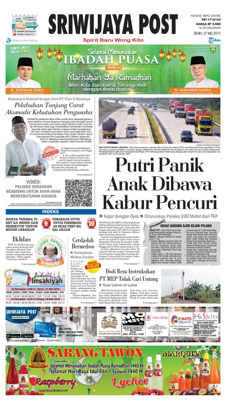 Koran Digital Sriwijaya Post 27 Mei 2019