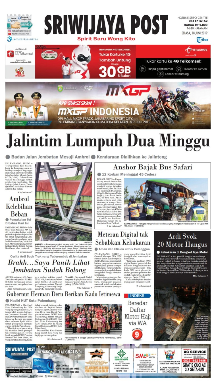 Sriwijaya Post Digital Newspaper 18 June 2019