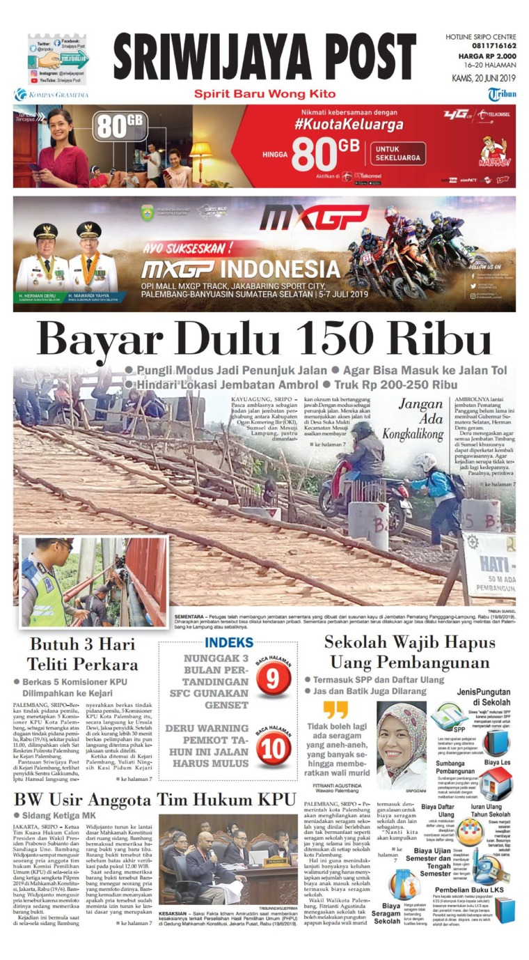 Sriwijaya Post Digital Newspaper 20 June 2019