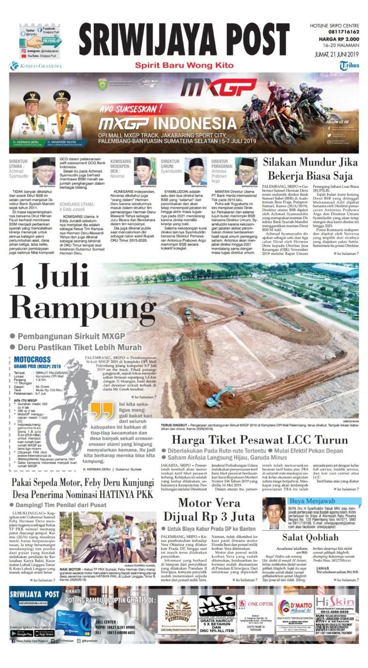 Koran Digital Sriwijaya Post 21 Juni 2019