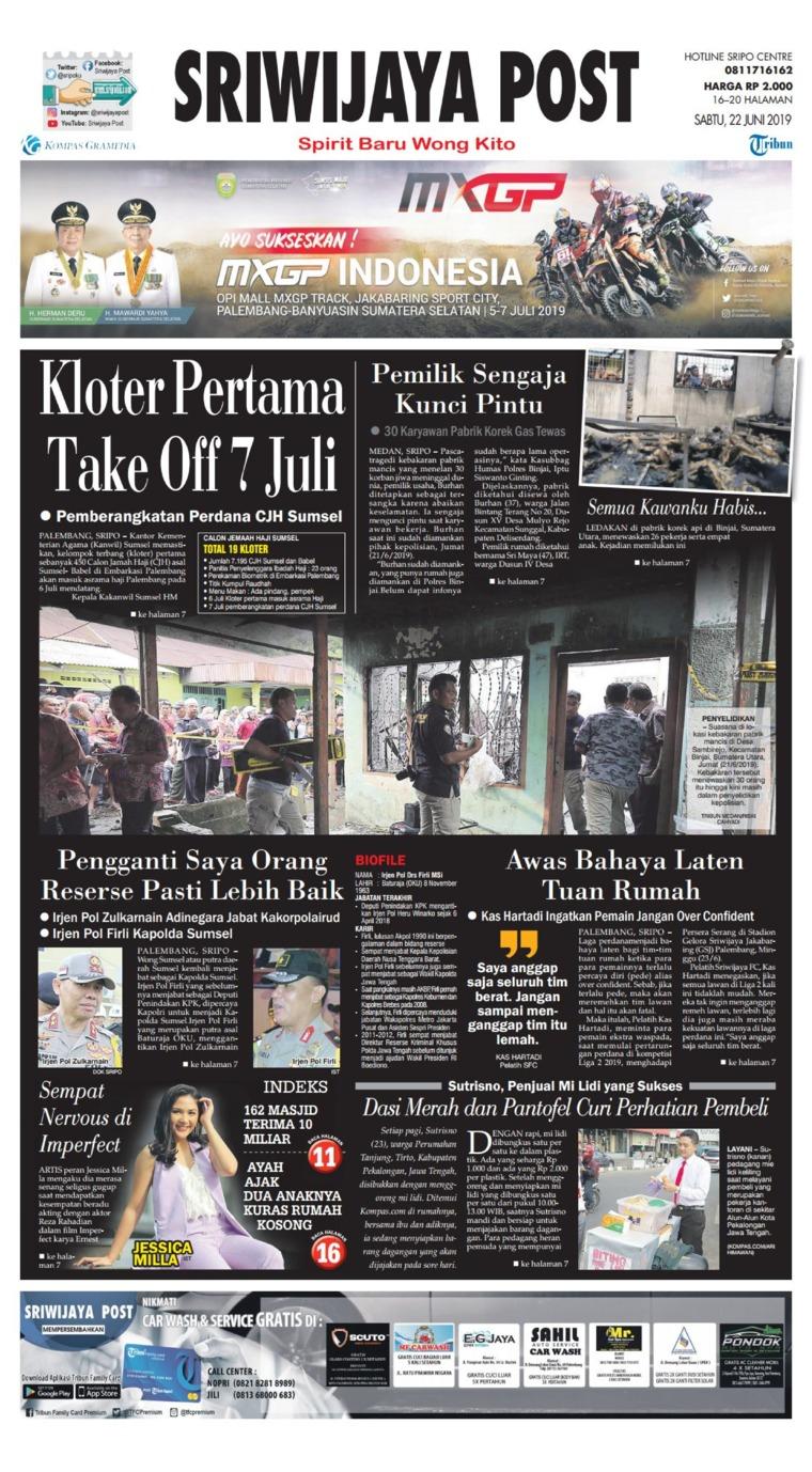 Koran Digital Sriwijaya Post 22 Juni 2019