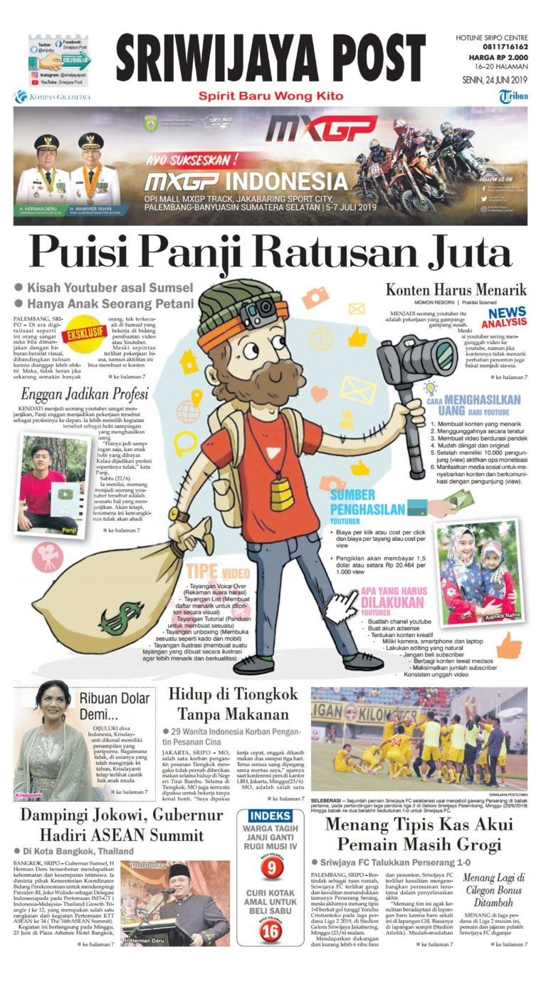 Sriwijaya Post Digital Newspaper 24 June 2019