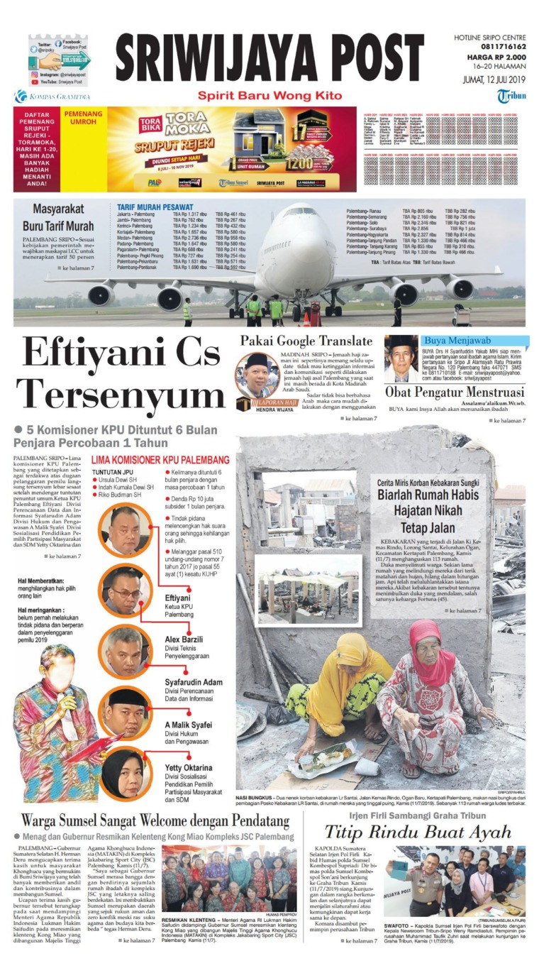 Koran Digital Sriwijaya Post 12 Juli 2019