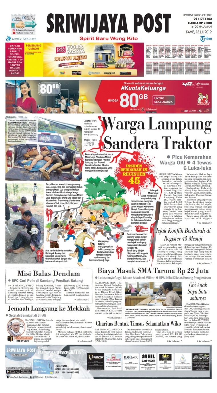 Sriwijaya Post Digital Newspaper 18 July 2019