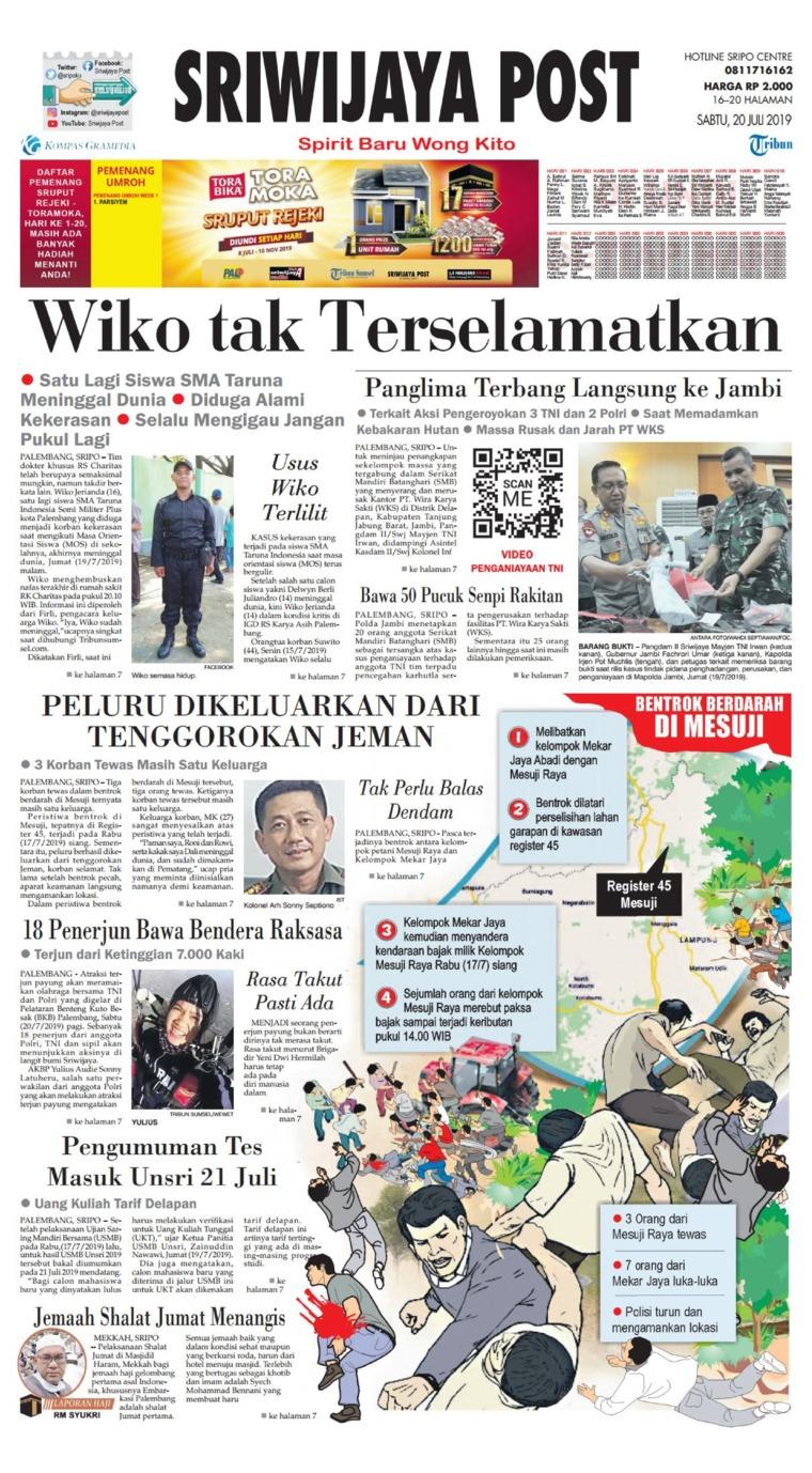Koran Digital Sriwijaya Post 20 Juli 2019