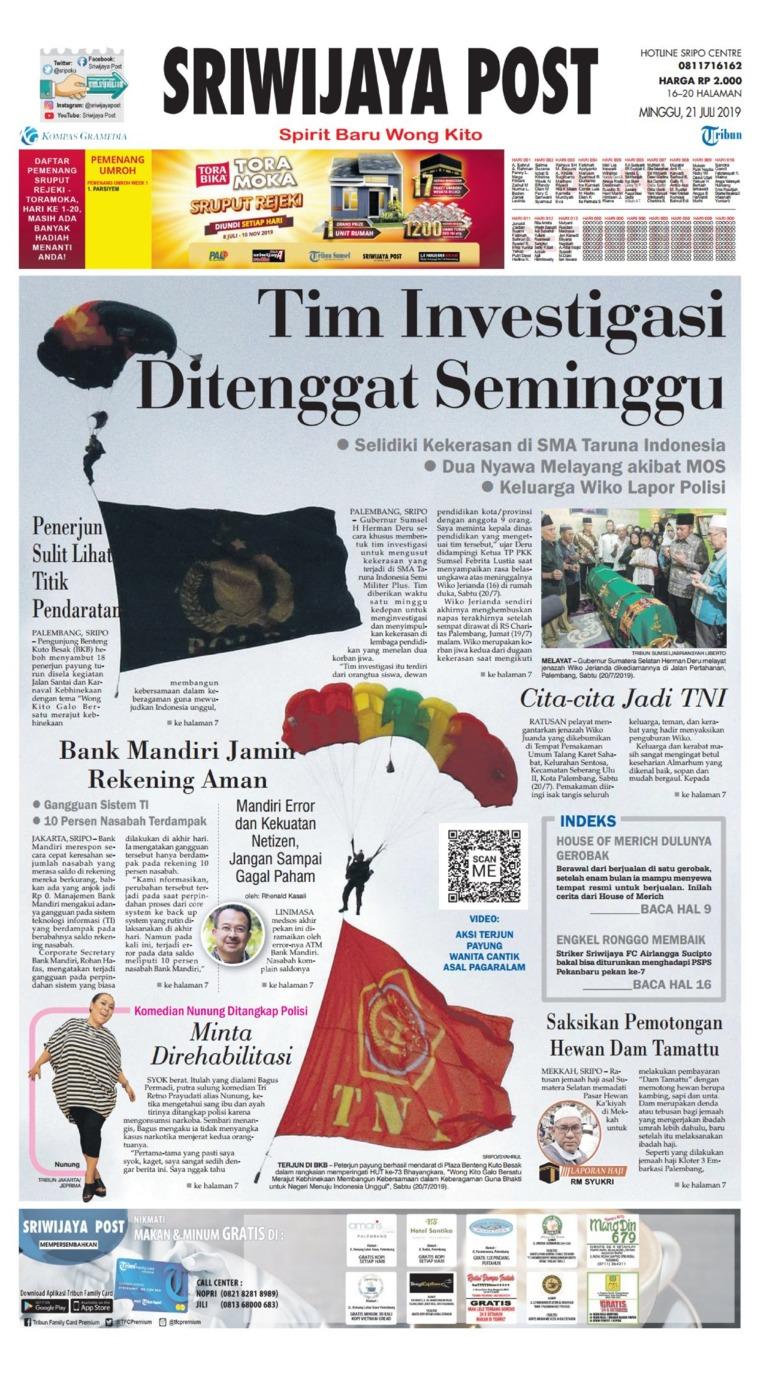 Sriwijaya Post Digital Newspaper 21 July 2019