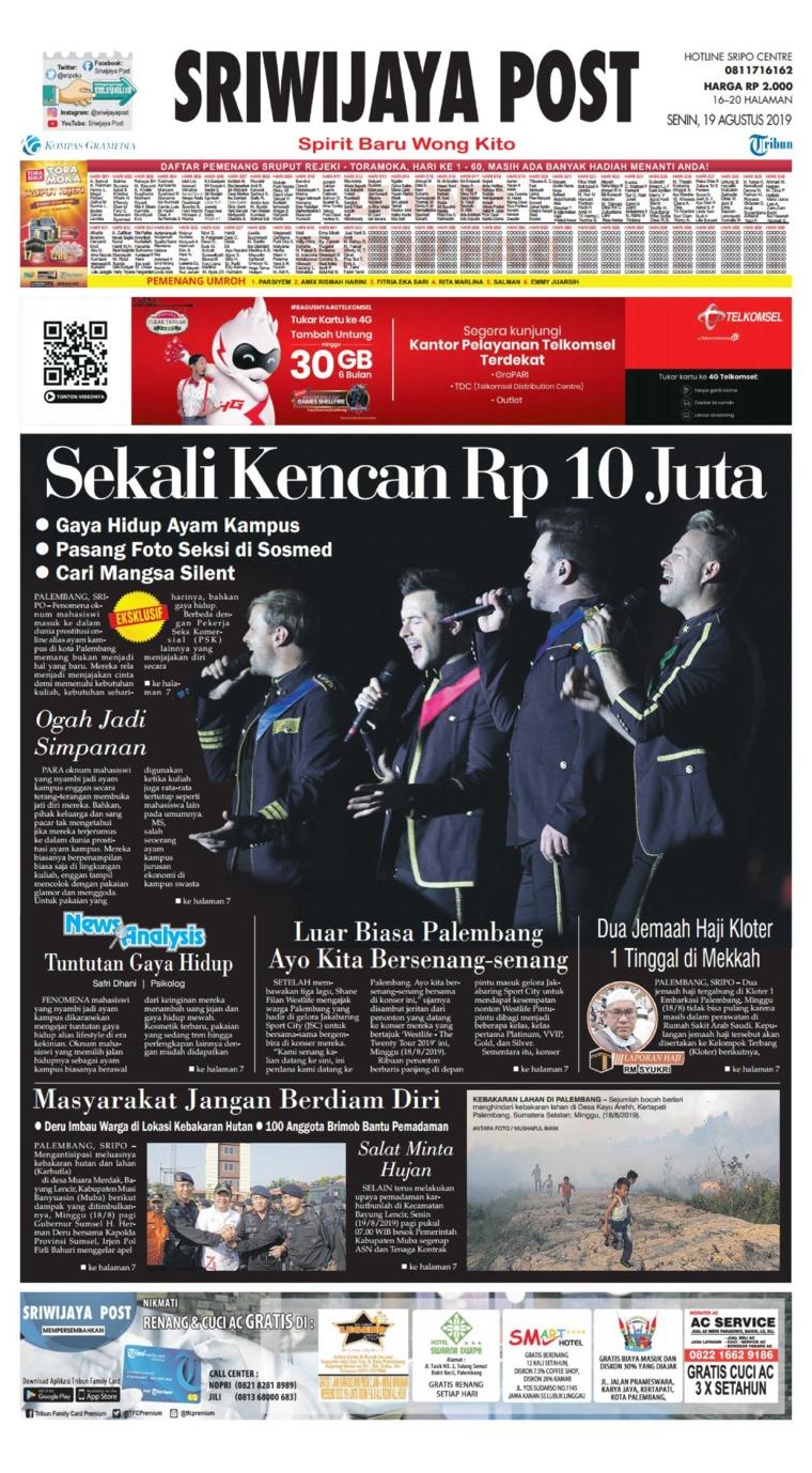 Sriwijaya Post Digital Newspaper 19 August 2019