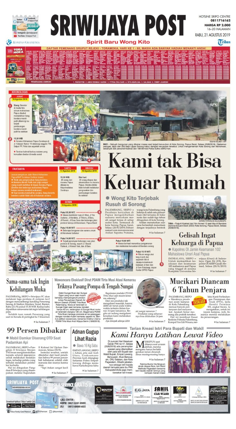 Sriwijaya Post Digital Newspaper 21 August 2019