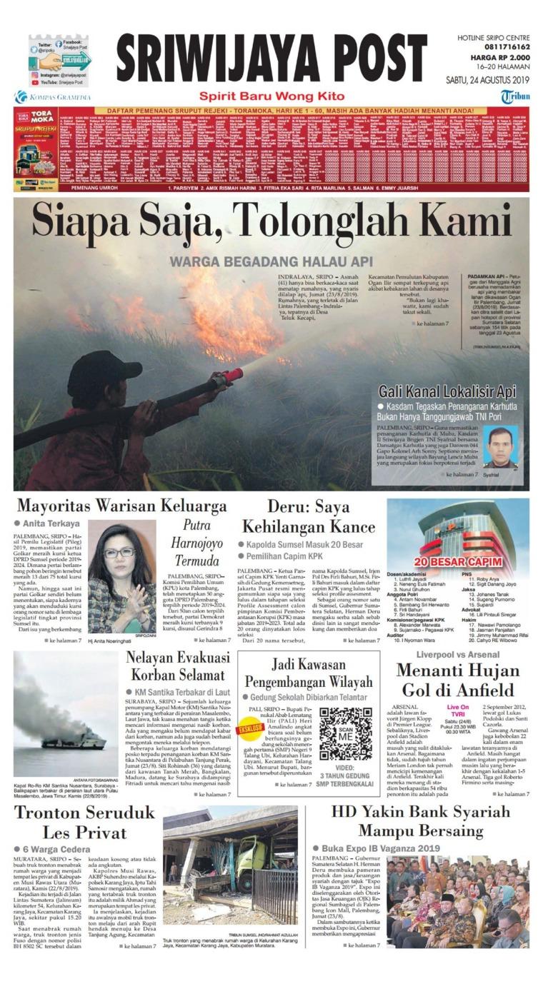 Sriwijaya Post Digital Newspaper 24 August 2019