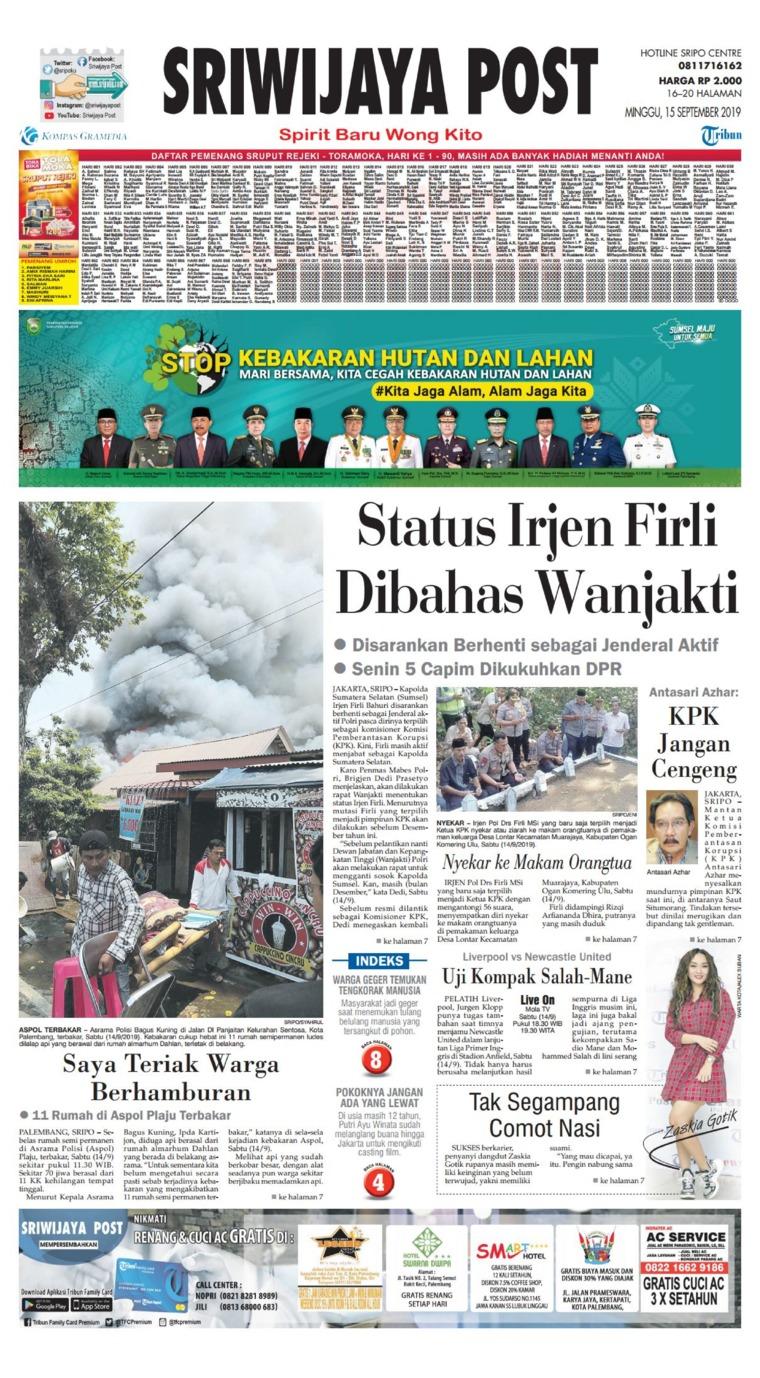 Sriwijaya Post Digital Newspaper 15 September 2019