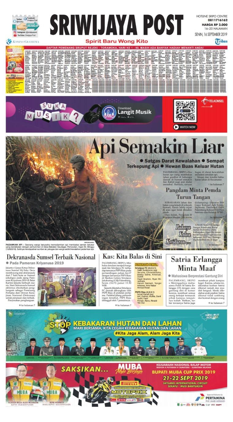 Koran Digital Sriwijaya Post 16 September 2019