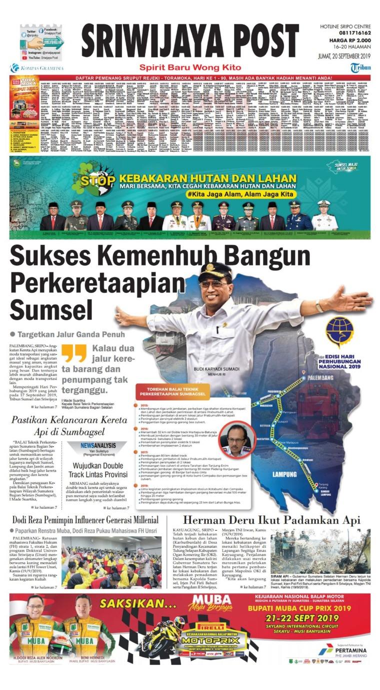 Sriwijaya Post Digital Newspaper 20 September 2019