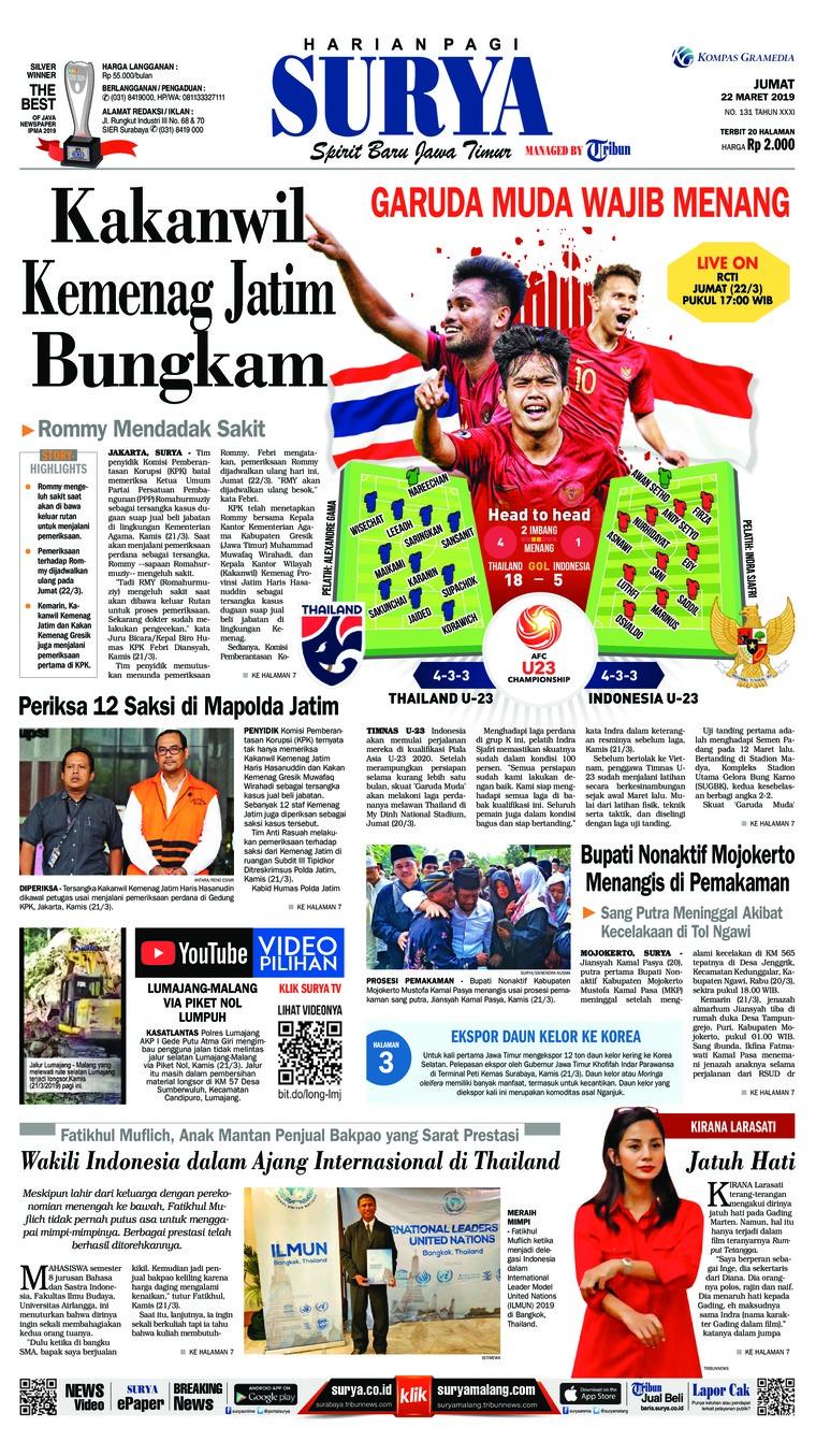 Koran Digital Surya 22 Maret 2019