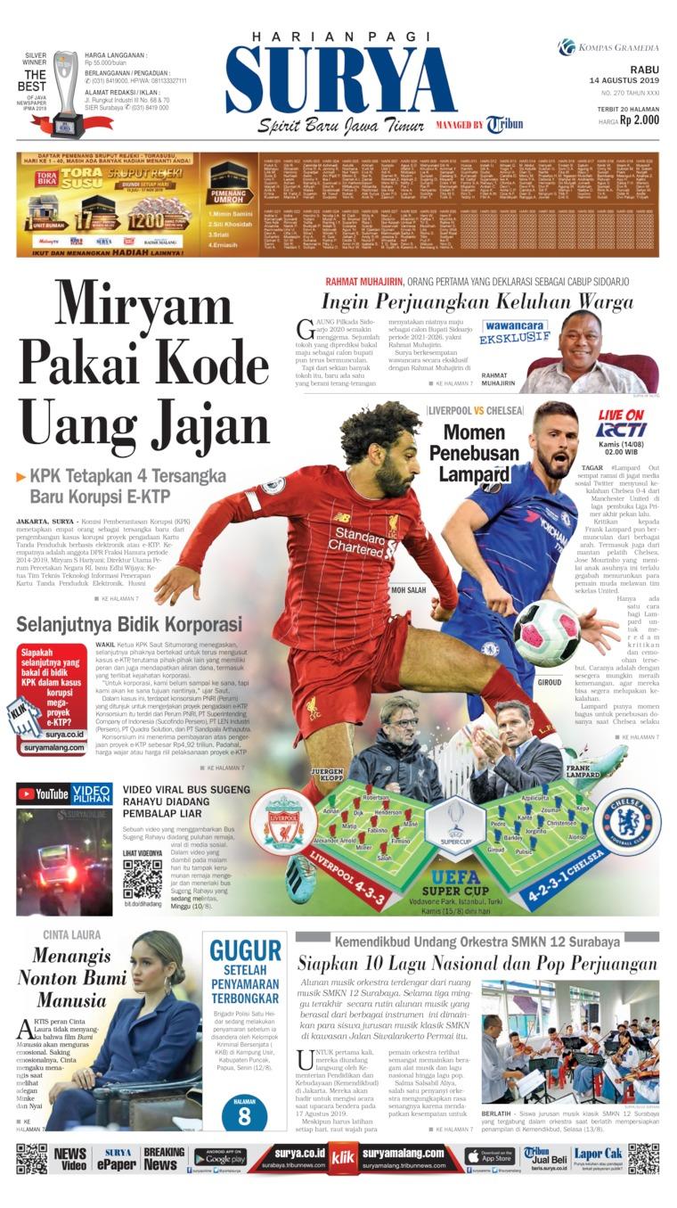 Surya Newspaper 14 August 2019 - Gramedia Digital