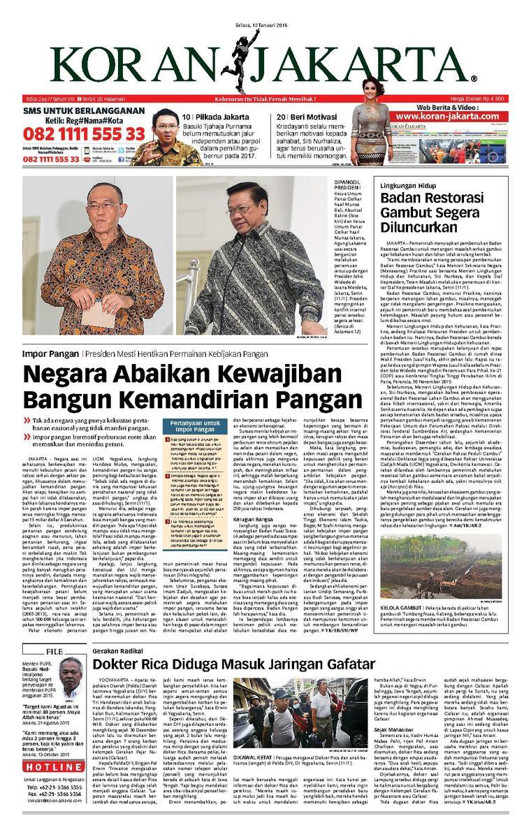 Koran Jakarta Newspaper 12 January 2016 - Gramedia Digital