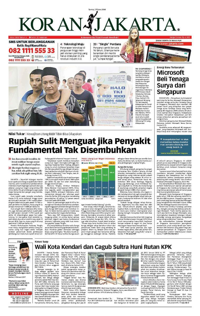 Koran Jakarta Newspaper 02 March 2018 Gramedia Digital