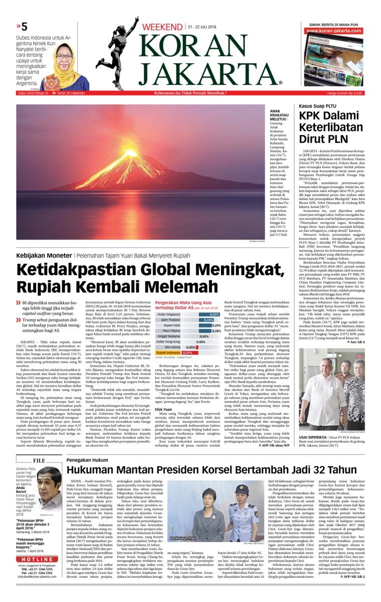Koran Digital Koran Jakarta 21 Juli 2018
