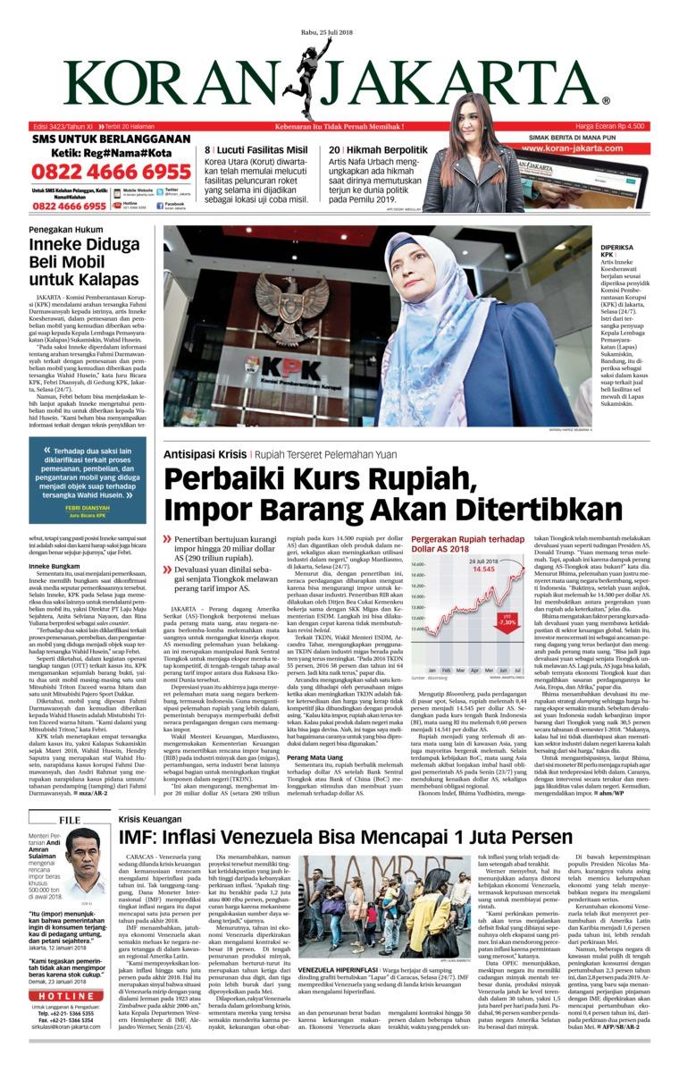Koran Digital Koran Jakarta 25 Juli 2018