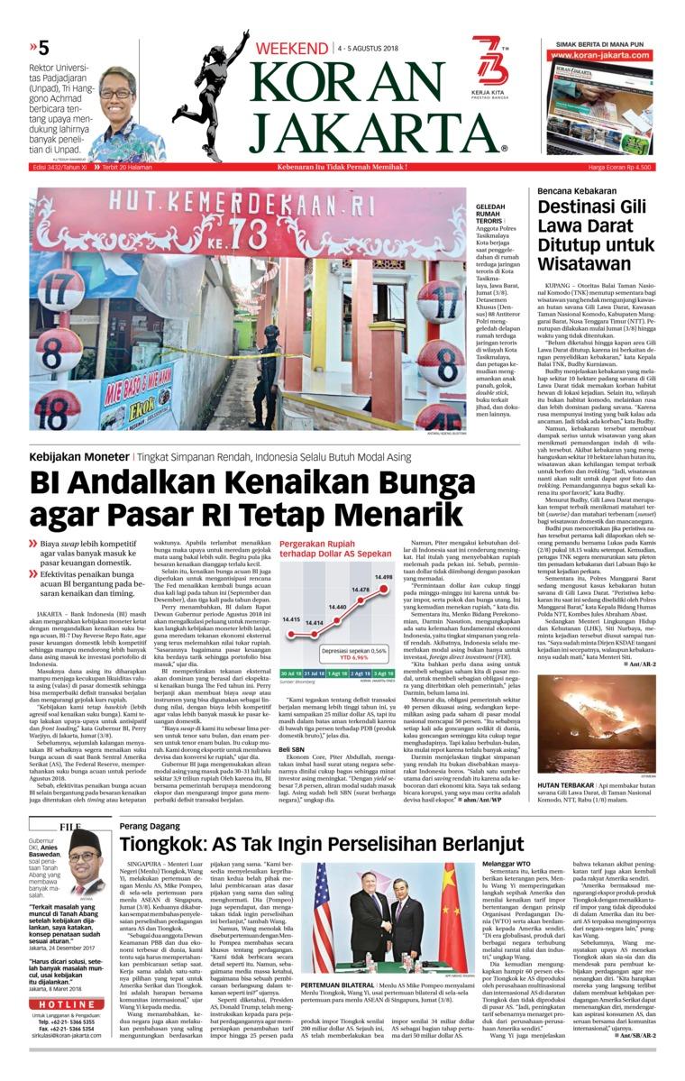 Koran Jakarta Newspaper 04 August 2018 Gramedia Digital Bali Photo Tour 17 19 Agustus