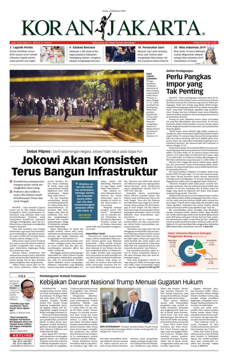 Koran Digital Koran Jakarta 18 Februari 2019