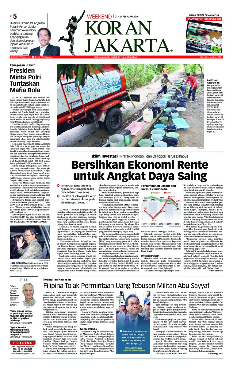 Koran Jakarta Digital Newspaper 23 February 2019
