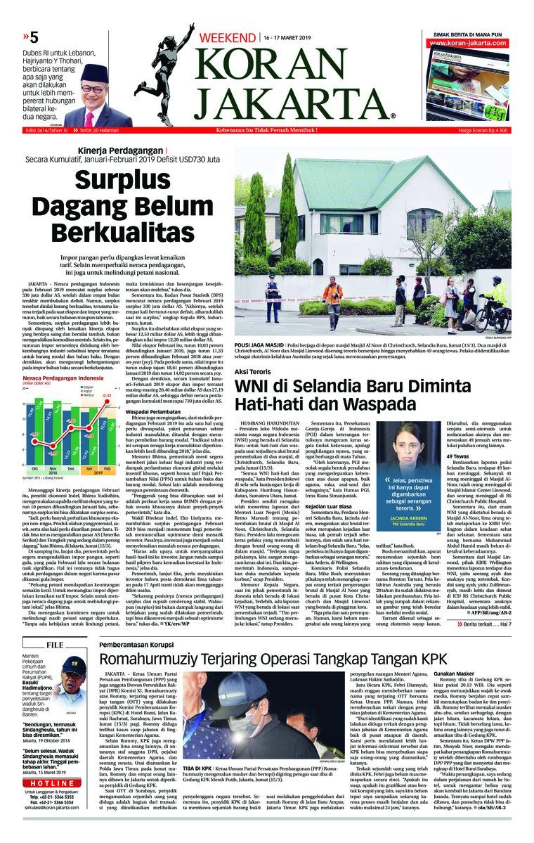Koran Digital Koran Jakarta 16 Maret 2019