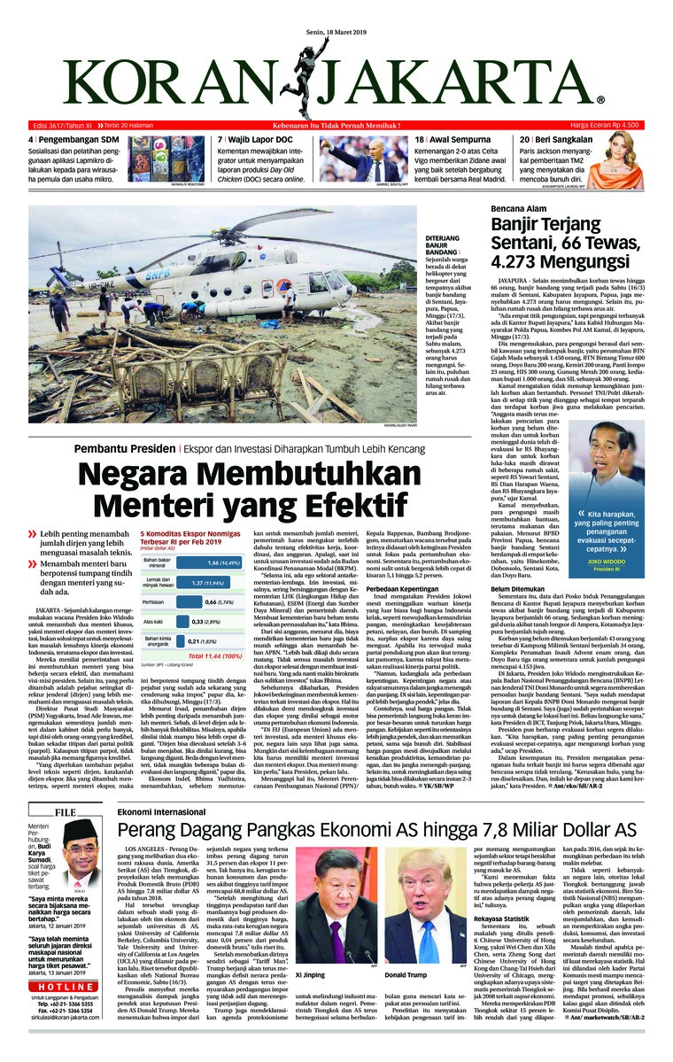 Koran Digital Koran Jakarta 18 Maret 2019