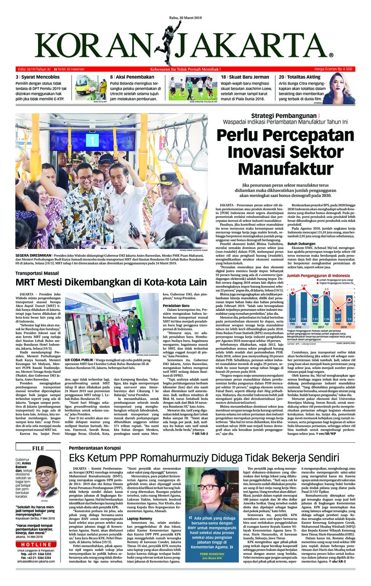 Koran Digital Koran Jakarta 20 Maret 2019