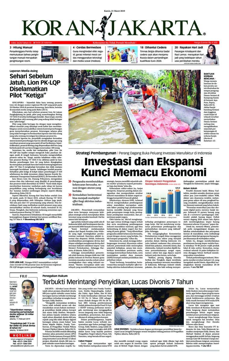 Koran Digital Koran Jakarta 21 Maret 2019