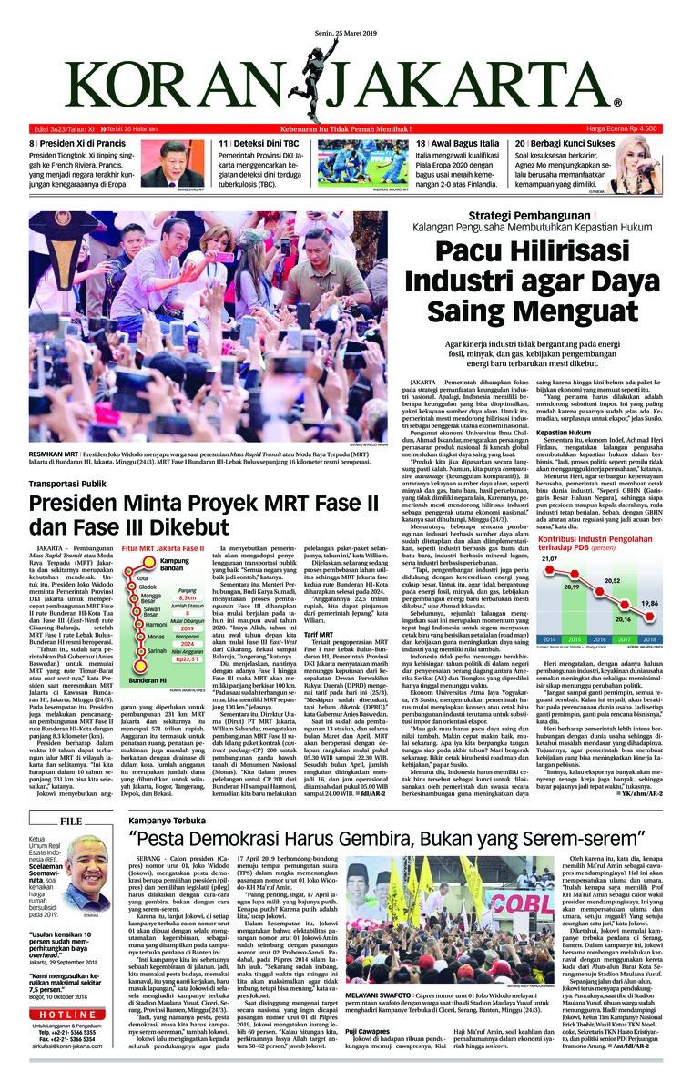 Koran Digital Koran Jakarta 25 Maret 2019