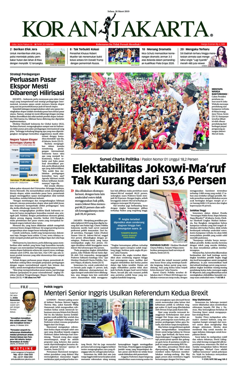 Koran Jakarta Digital Newspaper 26 March 2019
