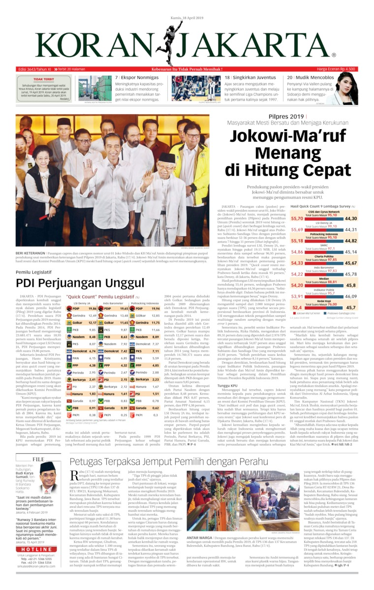 Koran Jakarta Digital Newspaper 18 April 2019