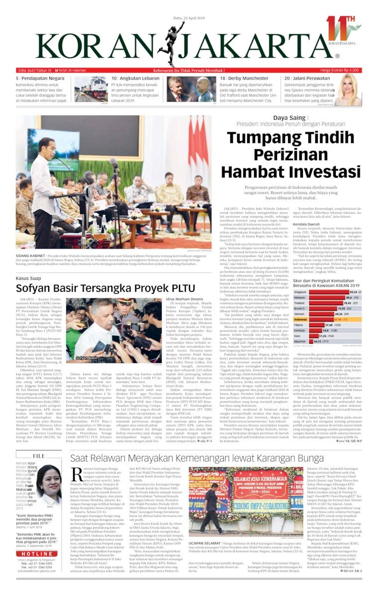 Koran Jakarta Digital Newspaper 24 April 2019