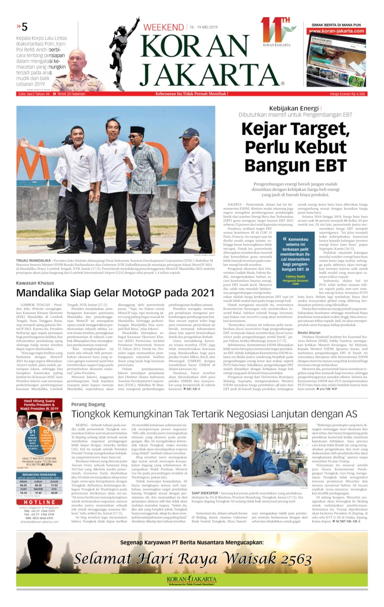 Koran Jakarta Digital Newspaper 18 May 2019